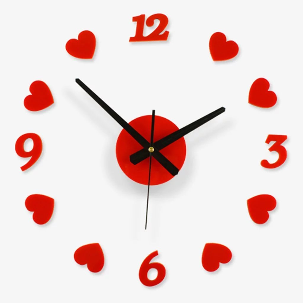 Creative Love Gift WallClock Free Combination Of Living Room Art Red Heart-shaped Wall Clock
