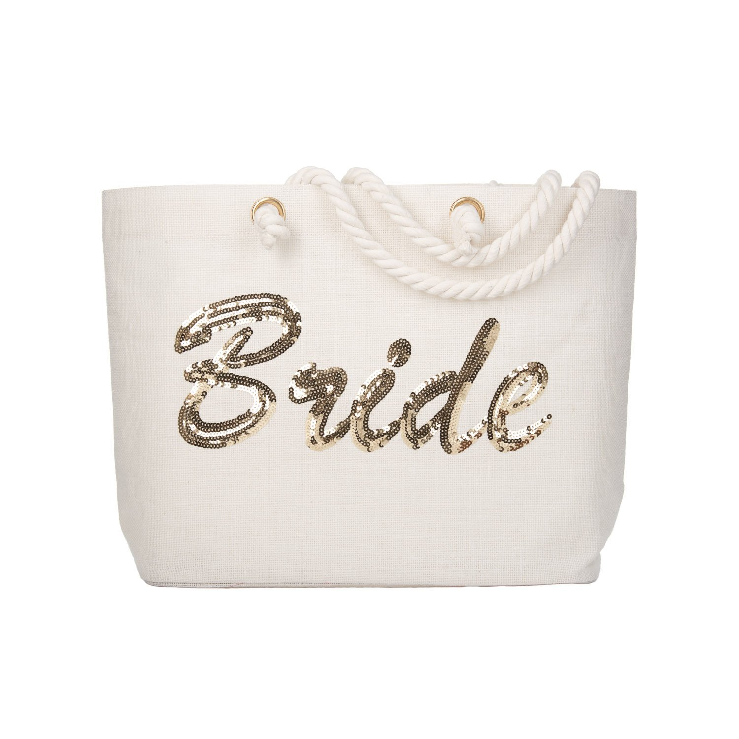 ElegantPark Bride Tote Bag Gold Sequin Wedding Bridal Shower Bachelorette Gift