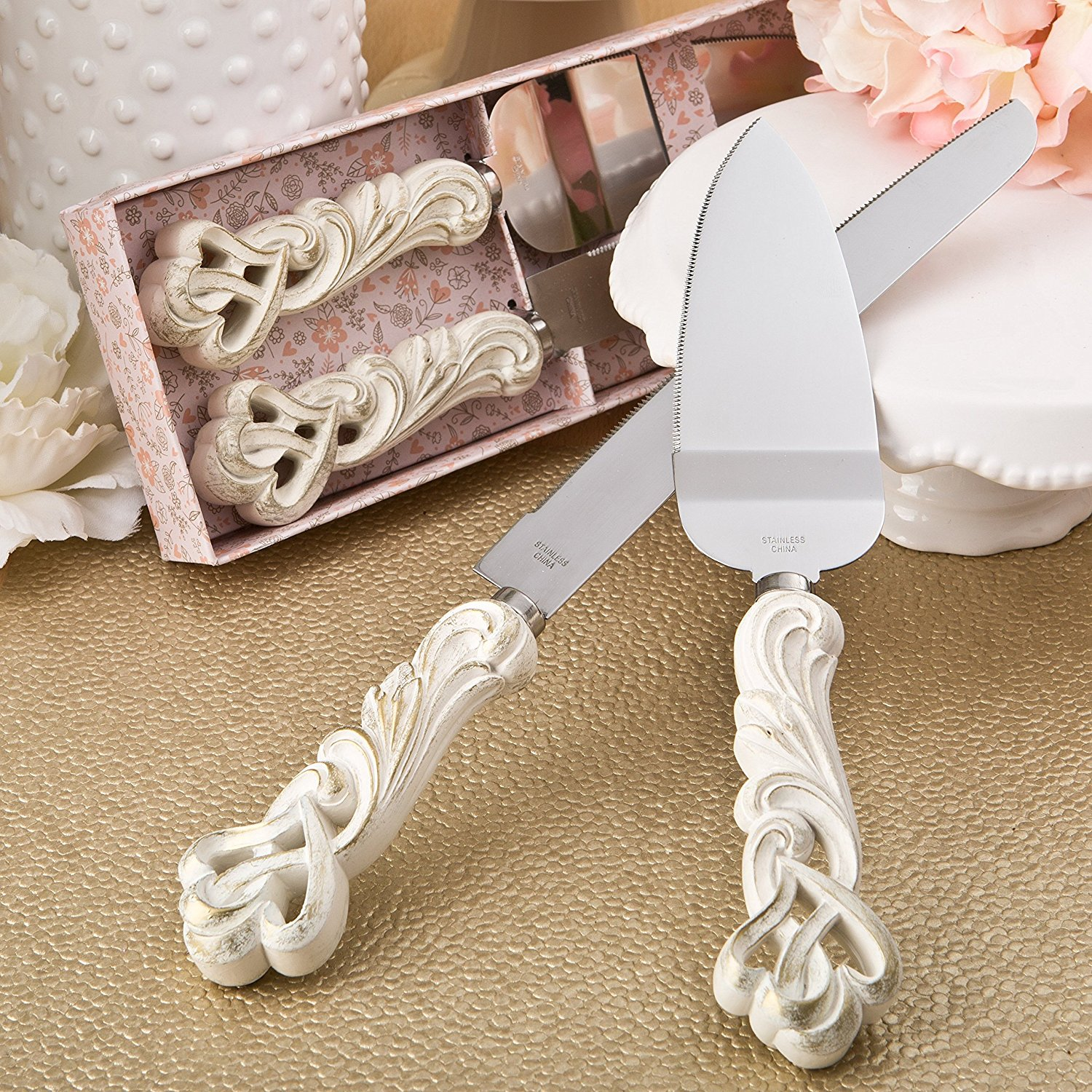 Fashioncraft Vintage Double Heart Design Knife And Cake Server Set