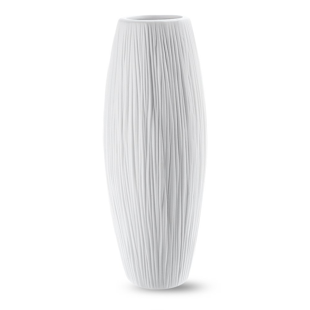 Oval Pure White Ceramic Flower Vase - Waterfall Textured Elegant Design - Ideal Gifts for Friends and Family, Christmas, Wedding, Bridal Shower - Home Decor Vase
