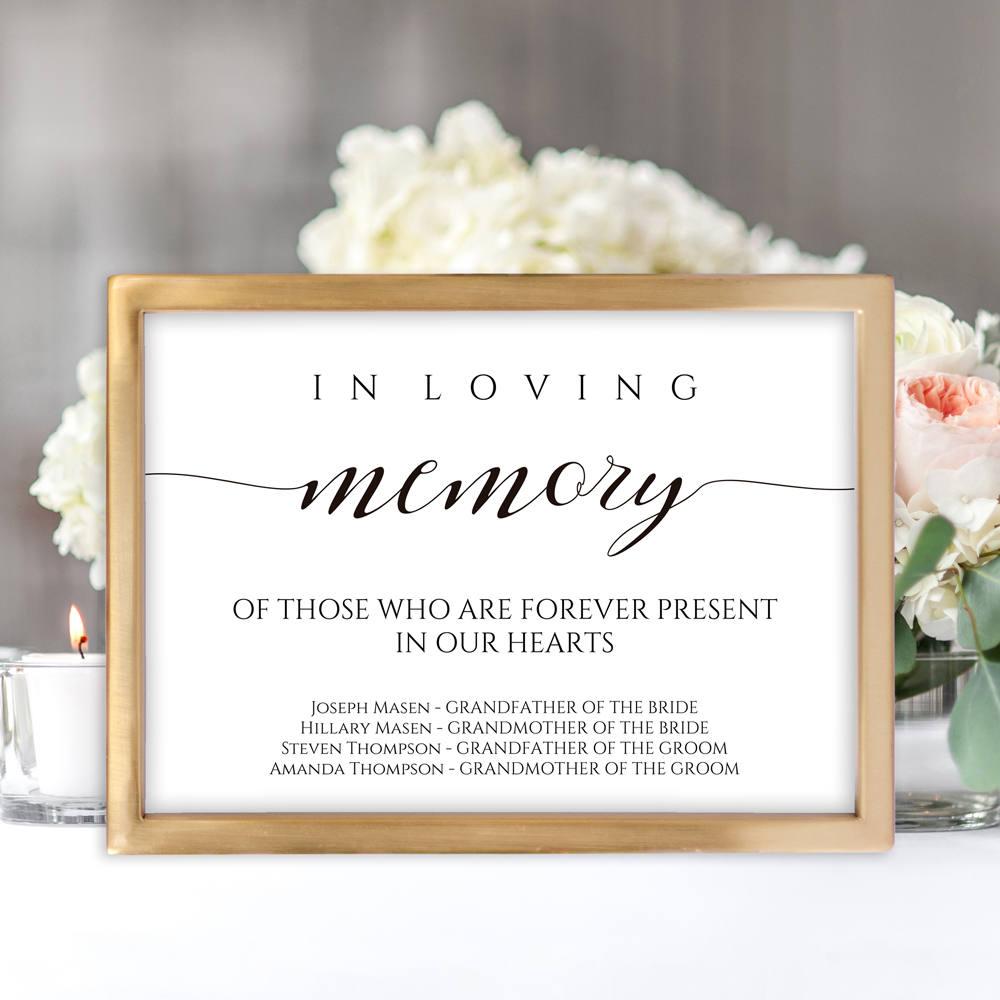 in loving memory wedding sign