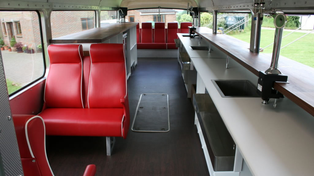mobile bars for weddings inside bus