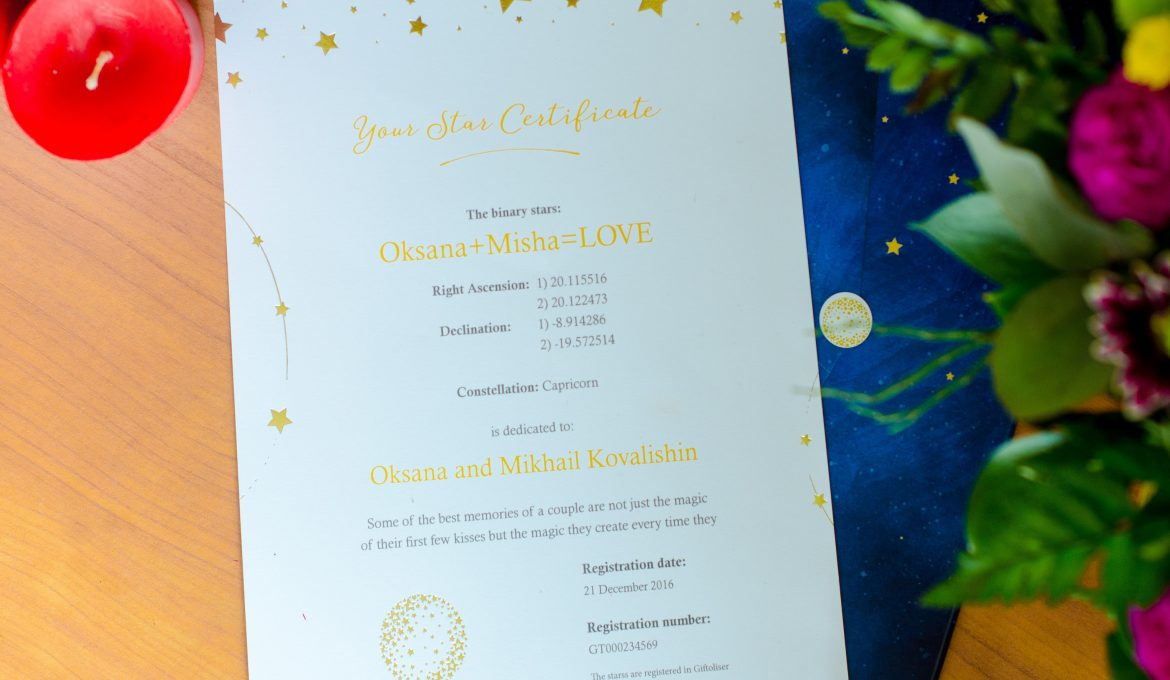A Great Wedding Gift That Lasts; Name a Star