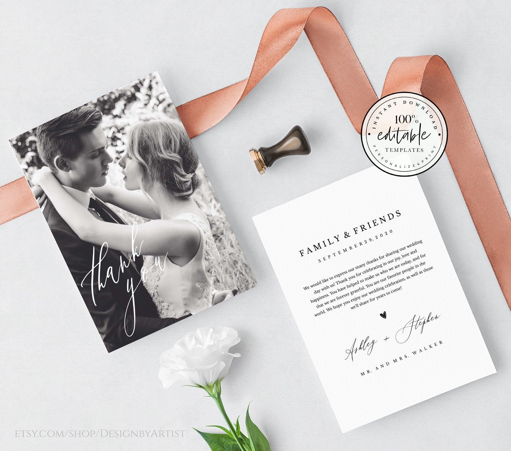 printable thank you card with photo